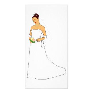 Tarjeta de la novia y de la foto del ramo tarjeta fotográfica personalizada