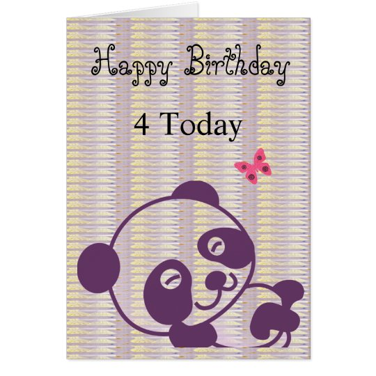 Tarjeta de la panda de la lila del feliz