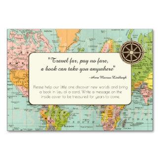 Tarjeta de la petición del libro - mapa del mundo