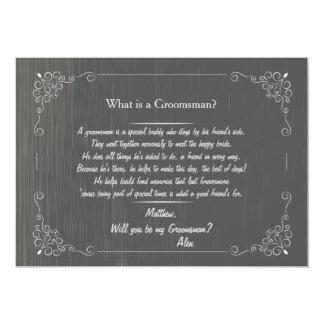 Tarjeta de la petición del padrino de boda de la invitación 12,7 x 17,8 cm