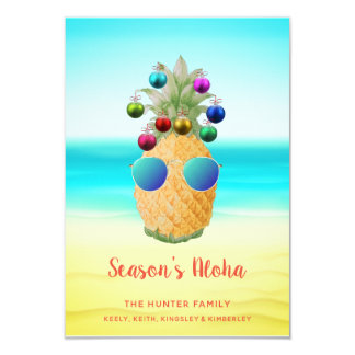 Tarjeta de la piña el | del navidad de la hawaiana