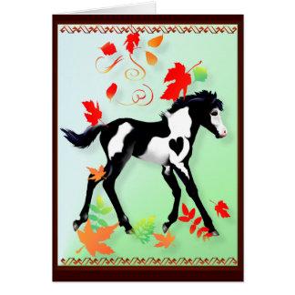 Tarjeta de la pintura del otoño