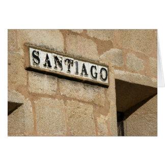 Tarjeta de la placa de calle de Santiago