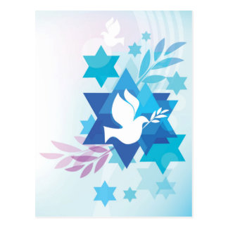 Tarjeta de la plantilla con símbolos judíos postal