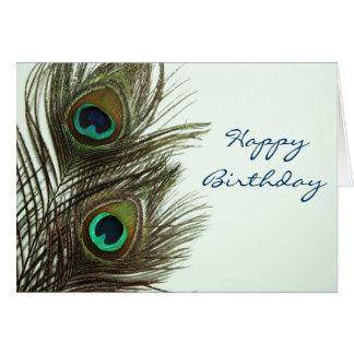Tarjeta de la pluma del pavo real del feliz cumple