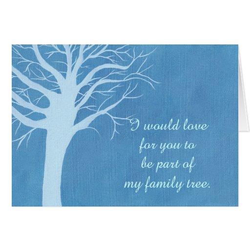 Tarjeta de la propuesta de matrimonio del árbol de