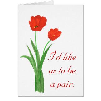 Tarjeta de la propuesta de matrimonio, tulipanes
