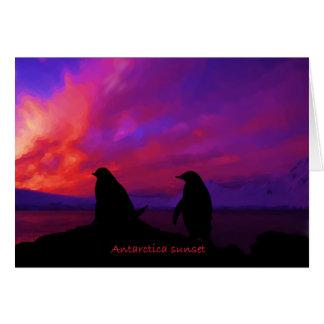 Tarjeta de la puesta del sol de la Antártida