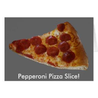 Tarjeta de la rebanada de la pizza de salchichones