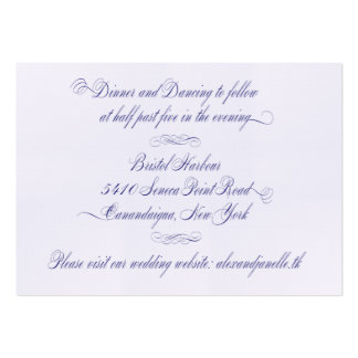 Tarjeta de la recepción de Janelle Tarjetas De Visita Grandes