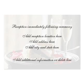 Tarjeta de la recepción de la celebración del boda tarjetas de visita grandes