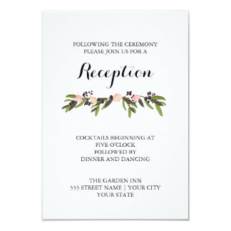 Tarjeta de la recepción de la guirnalda del jardín invitación 8,9 x 12,7 cm