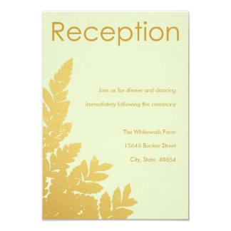 Tarjeta de la recepción de la hoja de oro invitación 8,9 x 12,7 cm