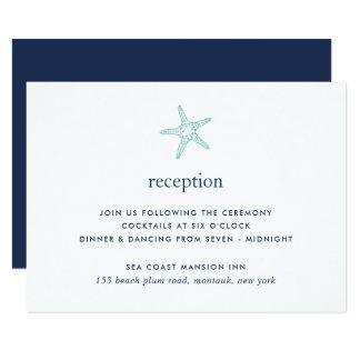 Tarjeta de la recepción de las estrellas de mar de