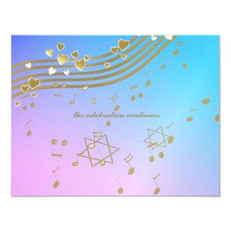 Tarjeta de la recepción de Mitzvah del palo de las Invitación 10,8 X 13,9 Cm