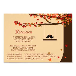 Tarjeta de la recepción del roble de los corazones invitación 12,7 x 17,8 cm