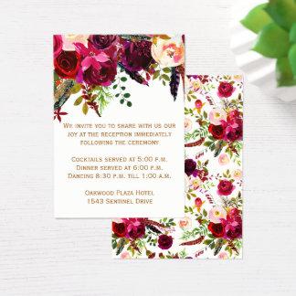 Tarjeta de la recepción nupcial - Borgoña floral,
