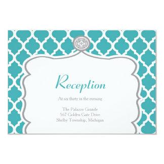 Tarjeta de la recepción nupcial de la turquesa de invitación 8,9 x 12,7 cm