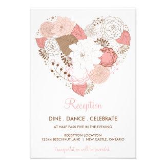Tarjeta de la recepción nupcial de las flores del anuncios personalizados