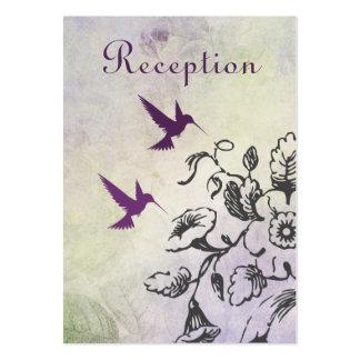 Tarjeta de la recepción nupcial de los colibríes y tarjetas de visita