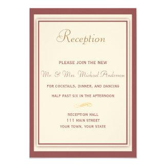 Tarjeta de la recepción nupcial de Marsala Invitación 12,7 X 17,8 Cm