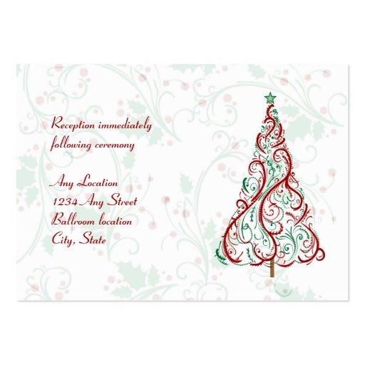 Tarjeta de la recepción nupcial del árbol de navid plantilla de tarjeta de negocio