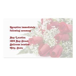 Tarjeta de la recepción nupcial del ramo del rosa  tarjetas de visita