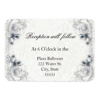 Tarjeta de la recepción nupcial del rosa blanco invitación 8,9 x 12,7 cm