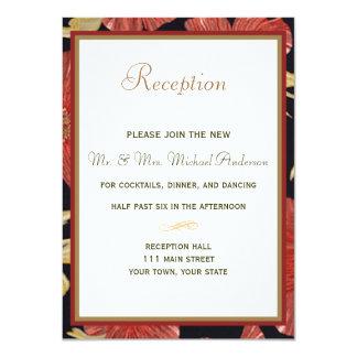 Tarjeta de la recepción para el boda floral negro invitación 11,4 x 15,8 cm