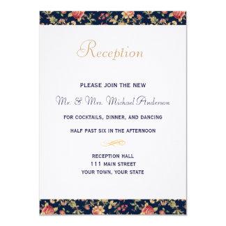 Tarjeta de la recepción para el vintage azul invitación 11,4 x 15,8 cm