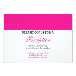Tarjeta de la recepción para un boda rosado invitación 8,9 x 12,7 cm