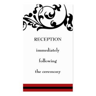 Tarjeta de la recepción tarjetas de visita