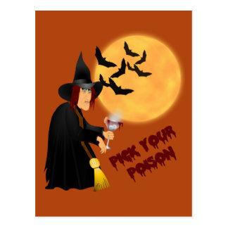Tarjeta de la receta del veneno de Halloween Postal
