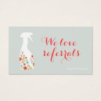 Tarjeta de la remisión del cliente de la limpieza