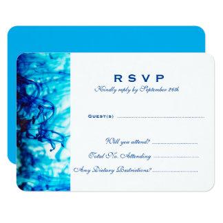 Tarjeta de la respuesta del boda de la tinta azul invitación 8,9 x 12,7 cm