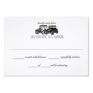 Tarjeta de la respuesta del boda del coche antiguo