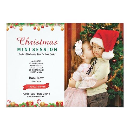 Tarjeta de la sesión de la fotografía del navidad invitación 12,7 x 17,8 cm