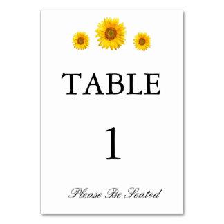 Tarjeta de la tabla del girasol