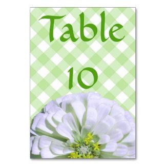 Tarjeta de la tabla - Zinnia blanco en enrejado