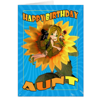 Tarjeta de la tía cumpleaños con la empanada de ha