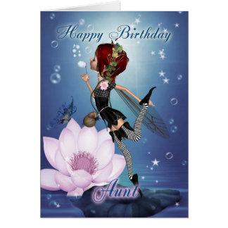 Tarjeta de la tía cumpleaños con la hada del agua