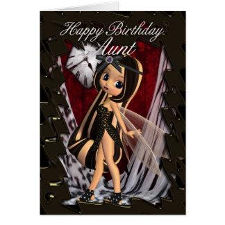 Tarjeta de la tía cumpleaños con la hada gótica de