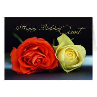 Tarjeta de la tía cumpleaños con los rosas del nar