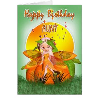 Tarjeta de la tía cumpleaños - hada de la fruta cí