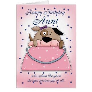 Tarjeta de la tía cumpleaños - mascota lindo del