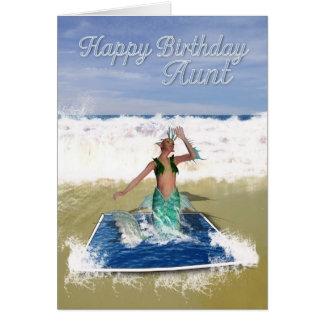 Tarjeta de la tía cumpleaños - sirena del arte de