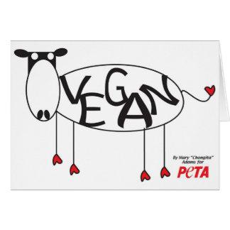 Tarjeta de la vaca del vegano