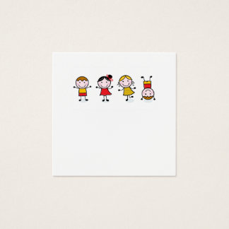 Tarjeta de la visita con los niños de salto