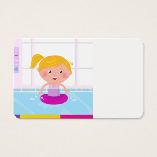 Tarjeta de la visita con poco chica de la natación