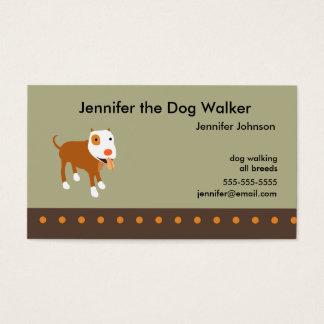 Tarjeta de la visita del caminante del perro